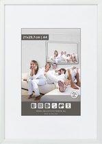 Vlakke Aluminium Wissellijst - Fotolijst - 60x80 cm - Helder Glas - Mat Zilver - 10 mm