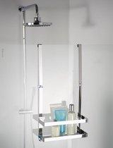 badkamerrek-doucherek-hangend-zonder boren-badkamer accessoires-douchedeur-glaswand-badkamerrekje-doucherekjes-douche rekje hangend-badrekje-douchemandje-ophangbaar