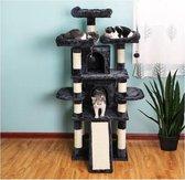 MIRA Home Krabpaal – Kattenhuis – Basic – Pluche – Donker Grijs - 60x55x172