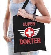 Super dokter / doctor cadeau katoenen tas zwart voor dames - zorgpersoneel kado /  tasje / shopper