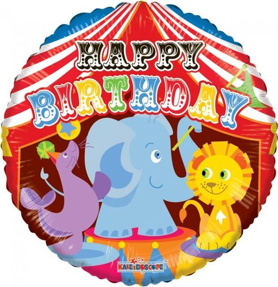Helium Ballon Happy Birthday Circus 45cm leeg