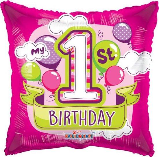 Helium Ballon Vierkant 1St Birthday Meisje 45cm leeg