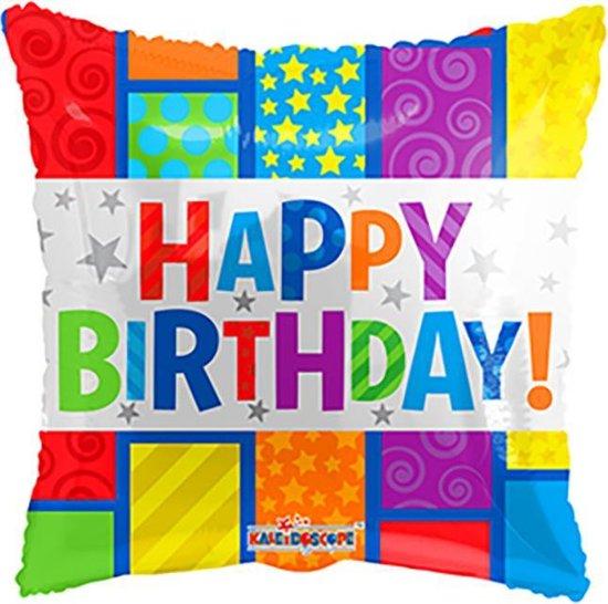 Helium Ballon Happy Birthday Vierkant 45cm leeg