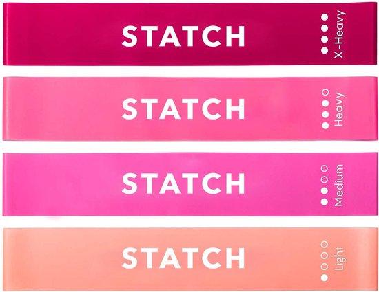 Statch Weerstandsbanden Set - 4 stuks - Incl. Draagtas en E-Book & Handleiding – Premium Vrouwen Set – Fitness banden - Fitness Elastieken - Elastiek Fitness band,  Gymnastiekband , Resistance  Band Set , Trainingsbanden Limited Edition
