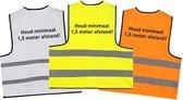 Hesje 1,5 meter afstand houden (5 pack) - Corona hesjes - Corona veiligheidsvest - Afstand Hesjes - Anti Corona - COVID hesjes - 5 pack gele hesjes