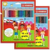 Kleurpotloden STABILO color - 2 PROMO-pochetten van 24 kleuren 16 + 8 gratis
