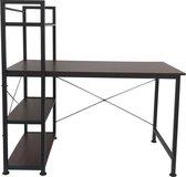 Bureau computertafel Stoer - 3 opbergplanken - industrieel vintage bruin - metaal hout