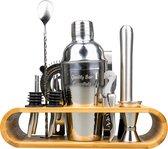Premium Cocktailset - Bamboe Standaard - Zilver - 12-delig - Shaker (750ml) - RVS - Receptenboekje