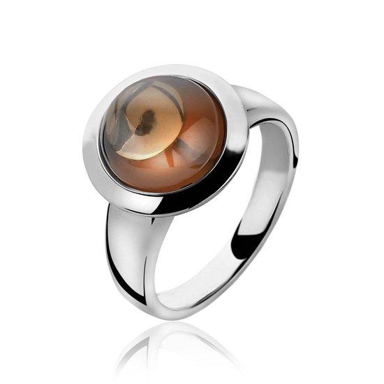ZINZI zilveren ring bruin ZIR1043C