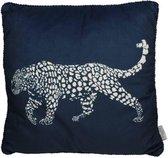 Kersten sierkussen luipaard blauw 50x50cm