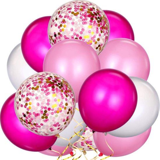 40 St. Luxe Set Ballonnen Roze Confetti Ballon - Roze Feestversiering - Verjaardag Versiering - Bruiloft Decoratie - Feest - Babyshower - Kinderfeest