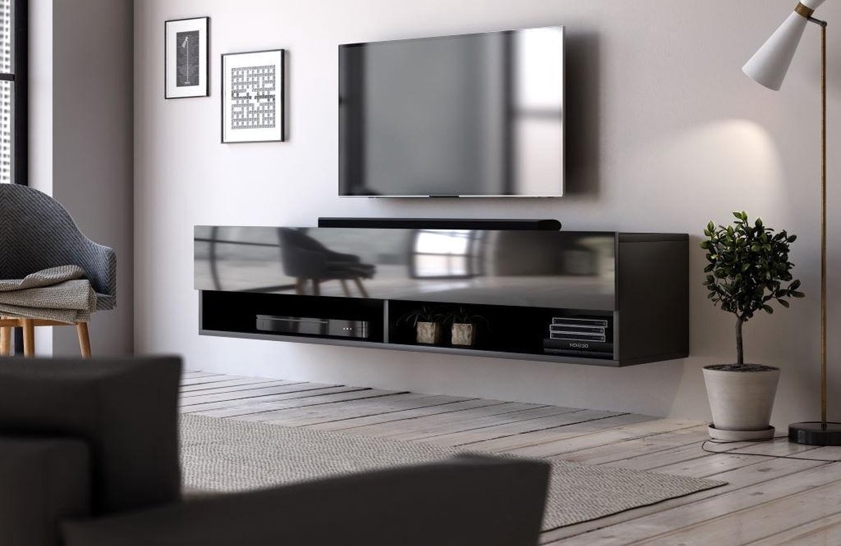 Hangend Tv Meubel Hoogglans Zwart 140 cm - Modern Strak Design