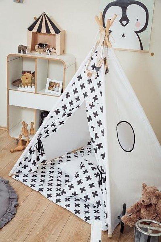 Tipi Tent / Speeltent Kinderkamer Monochrome Crosses - Speeltent voor Kinderen - Kindertent - Indianentent - Wigwam 100x100x120cm