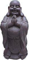 Boeddha beeld lucky staand – donkergrijs 59cm tuindecoratie boeddhabeeld mediterend | GerichteKeuze