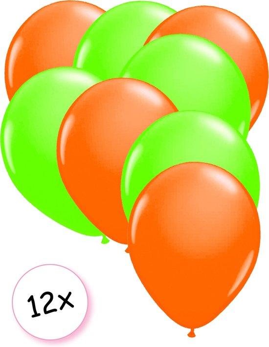 Ballonnen Neon Oranje & Neon Groen 12 stuks 25 cm