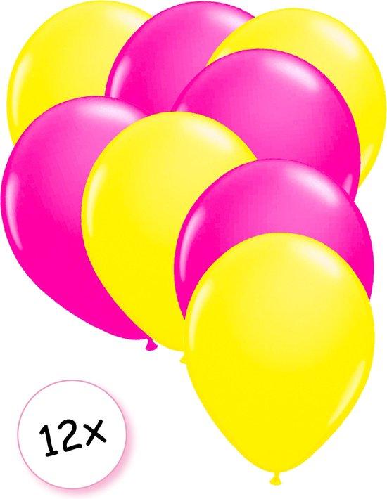 Ballonnen Neon Geel & Neon Roze 12 stuks 25 cm