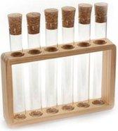 Reageerbuisjes glas met kurkdop LEEG - 6-delige tubes in houten tube houder - voor thee - voor kruiden - voor specerijen - cadeauset - geschenkset
