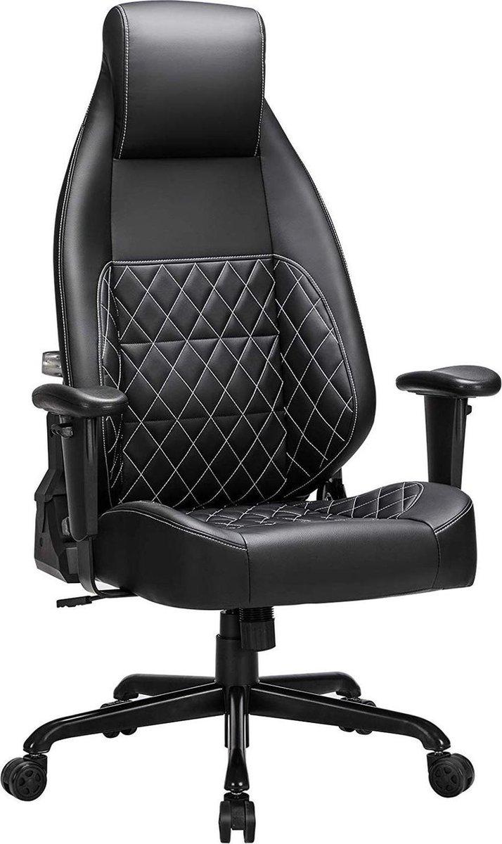 Nancy's Luxe Bureaustoel Ergonomische Bureaustoelen Bureaustoelen Voor Volwassenen Game Stoel Directiestoel Zwart Leer