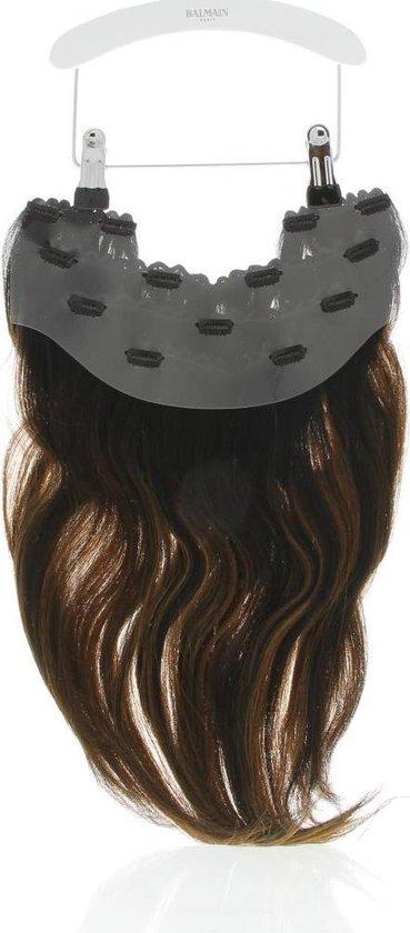Balmain Hair Clip-In Weft 40 cm. 5-delige set, 100 % echt haar. kleur MILAN een mix van chocoladebruine tinten.
