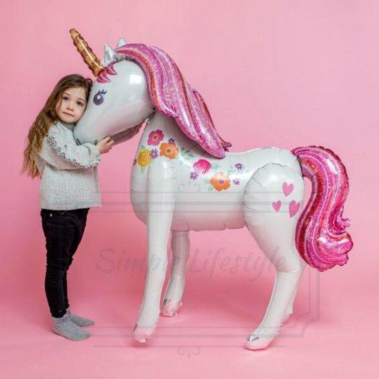 Ballon Eenhoorn XL Unicorn Grote opblaasbare Paard Luxe Thema Party - feestpakket Princess Prinses 3D balonnen 116 cm  – verjaardag versiering - Birthday - Kinderfeest- Inclusief opblaasrietje