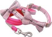 Hippe uitlaat set voor de hond - Vrolijke halsband met strik en hondenriem - Uitlaat set voor hondjes - Roze - Maat S