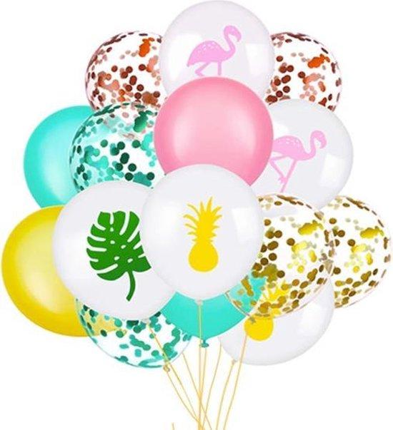 Tropical Decoratie - Ballonnen - 18 Stuks - Flamingo - Ananas - Palmblad - Confetti Ballon