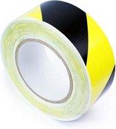 Vloertape Geel zwart 50 mm (rol 33 meter) - hoge kwaliteit - markeer tape - waarschuwingstape - COVID-19 - CORONA - markeringstape - tape