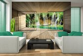 Fotobehang Vlies | Natuur, Waterval | Groen | 368x254cm (bxh)