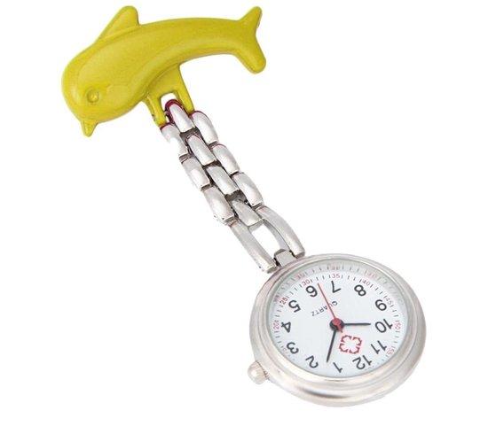 Treasure Trove® Gele Dolfijn Verpleegsterhorloge – Zuster Horloge – Dames – 25mm