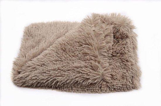 Luxe Fluffy Hondendeken - 100x75 cm - L - Bruin