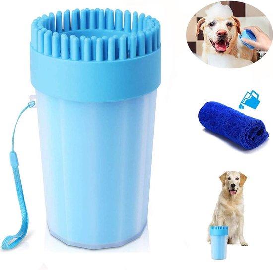 Pawlicious 2 In 1 Hondenpoten Reiniger + Handdoek - Hondenborstel - Borstel Hond / Kat - Hondenpoot Reiniger - Huisdier Poot Wassen - Borstel - Hondenverzorging - Verzorging Hond - Honden Wassen - Schoonmaak Borstel - Kattenborstel