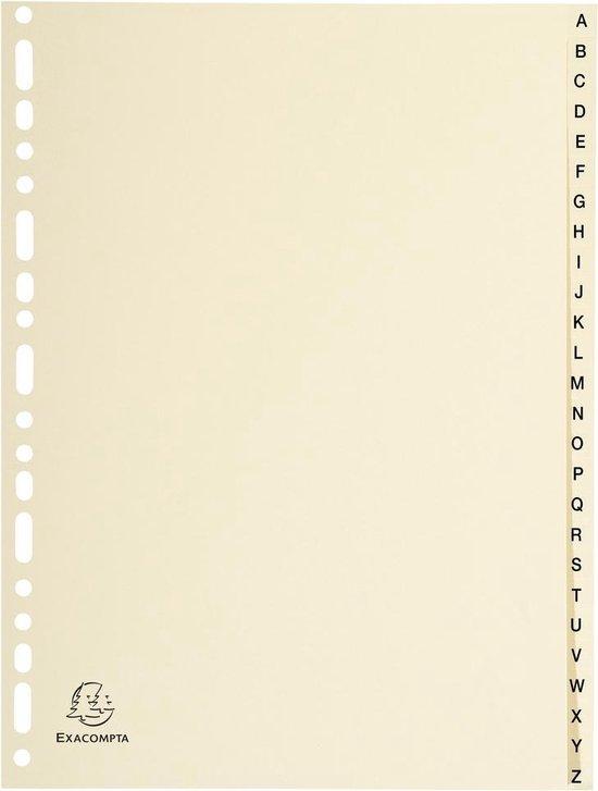 5x Tabbladen karton 155g - 26 tabs - A tot Z - A4, Ivoor