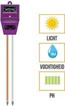 PH Meter | Vochtmeter | Lichtmeter | 3-in-1 | Grond | Tuin | Bodem | Planten | Vochtigheidsmeter | Paars