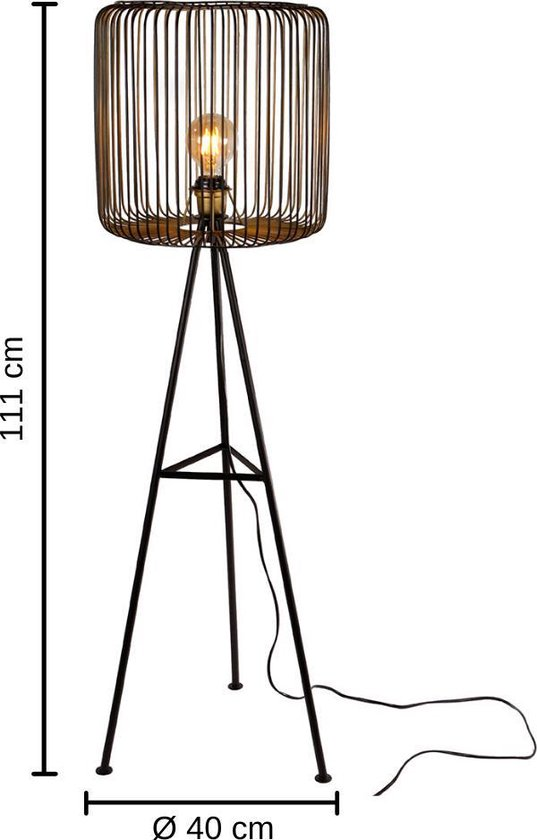 Dulaire Vloerlamp Industrieel Metaal Zwart/Goud