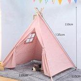 Speeltent Tipi Tent voor Jongens en Meisjes - Speelhuis Wigwam voor Kinderen met Vlaggetjes – 135x110 cm - Roze