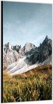Dibond –Bergen met Blauwe Lucht– 100x200cm Foto op Aluminium (Wanddecoratie van metaal)