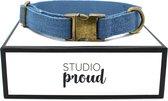 Studio Proud - Halsband - denim  - bronskleurige accenten - size L - te combineren met bijpassende riem