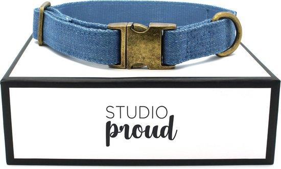 Studio Proud - Halsband - denim - bronskleurige accenten - maat S - te combineren met bijpassende riem