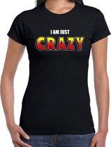 I am just crazy fun t-shirt zwart voor dames - fout / stout shirt S