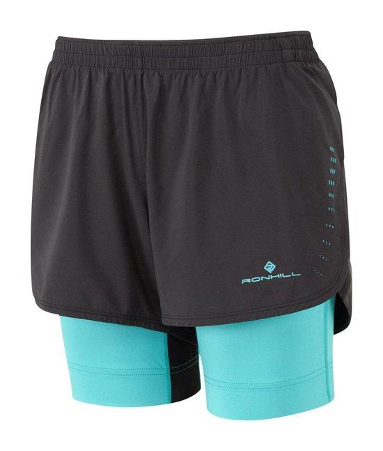 Ron Hill Marathon Twin Short Hardloopshort Dames Zwart/Blauw