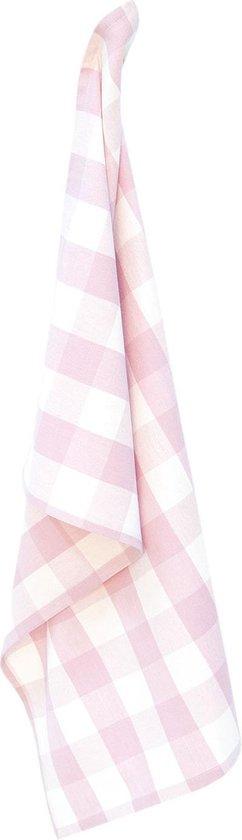 Keukendoek | 50*70 cm | Roze | 100% Katoen | rechthoek | ruit | Clayre & Eef | CFA42CP