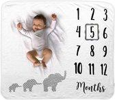 Mijlpaaldeken – Olifantjes - Milestone blanket – Baby deken – Kraam cadeau – Babyshower kado – Mijlpaal kaart – Fotodoek – Fotoherinnering – Incl. Frame – Extra zacht