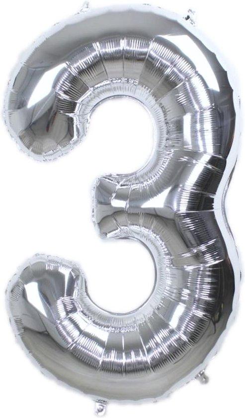 Folie Ballon Cijfer 3 Jaar Zilver 86Cm Verjaardag Folieballon Met Rietje