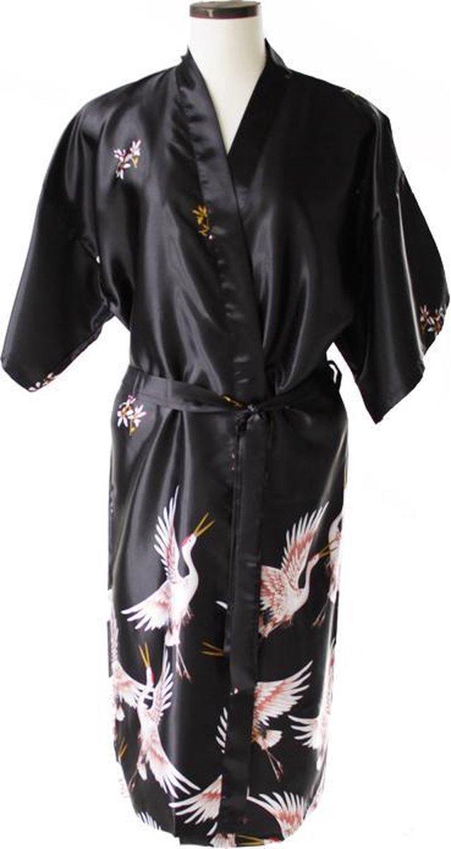 TA-HWA Kimono met Kraanvogels Zwart Dames kimono L