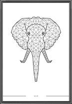 Poster Olifant - 30x40 cm - Geometrisch - incl lijst