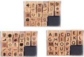 Stempelset Letters & Symbolen & Figuren | 3 x 26 verschillende stempels | Inclusief inkt pad | Stempelkussen | Stempels volwassenen | Stempelset kinderen