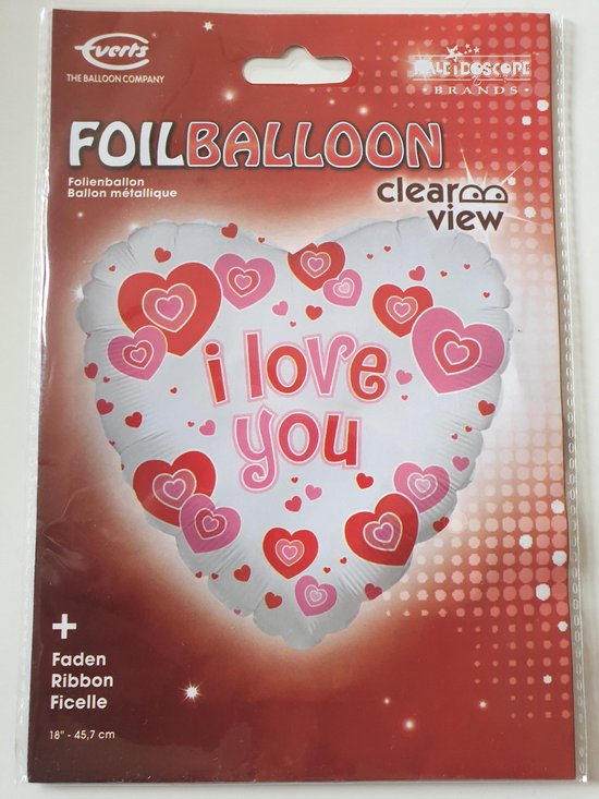 Folie ballon i love you gevuld met helium