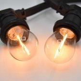 Prikkabel set met LED lampen, 10 meter met 10 fittingen - 1 watt filament lampjes 2700K