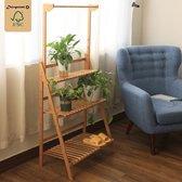 Plantenrek van bamboe hout - Plantentrap / bloemenrek voor binnen - Plantenetagere met 3 etages + Stang voor Hangplanten - Staand rek voor planten en bloemen - Decopatent®