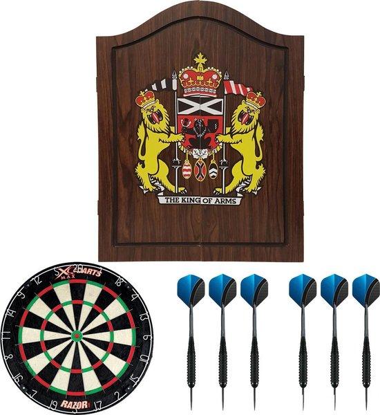 Dragon darts - houten - dartbord kabinet - starterpack - inclusief dartbord en dartpijlen - King of Arms - donkerbruin - inclusief - sisal - dartbord - en 2 sets - dartpijlen